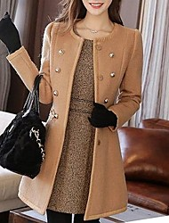 Women's Casual/Daily Simple Coat,Solid Notch Lapel Long Sleeve Winter White / Black / Brown Wool Medium