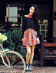 Damen Solide Einfach Lässig/Alltäglich T-shirt,Rundhalsausschnitt Sommer Langarm Schwarz Andere Lichtdurchlässig
