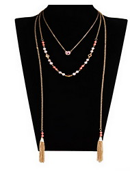 Necklace Chain Necklaces Jewelry Daily / Casual Double-layer / Fashion Alloy / Gem Gold 1pc Gift