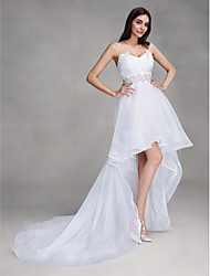 A-line Wedding Dress Asymmetrical Sweetheart Organza with Crystal
