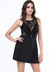 Women's Beach Skater Dress,Solid Round Neck Sleeveless Black Summer