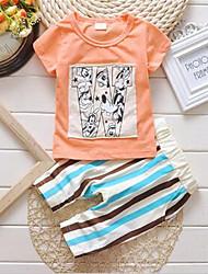 Girl's Green / Orange / White / Yellow Clothing Set,Print Cotton Summer