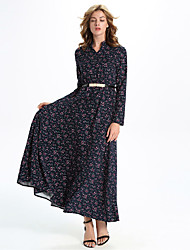 Women's Formal / Party/Cocktail Boho A Line Dress,Floral V Neck Maxi Long Sleeve Blue Polyester / Others All Seasons