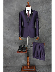 2017 Suits Tailored Fit Peak Single Breasted One-button Polyester Solid 3 Pieces Purple Straight Piped