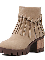 Women's Shoes Fleece Fashion Boots / Round Toe Boots Office & Career / Dress / Casual Chunky Heel Zipper / Tassel