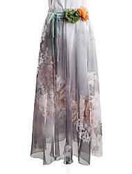 Women's Print Layered Irregular All Match Classic Swing Skirts,Vintage / Street chic Maxi