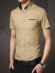 Men's Solid Work / Formal Shirt,Cotton Short Sleeve Blue / Gray