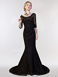Mermaid / Trumpet Illusion Neckline Sweep / Brush Train Lace Tulle Formal Evening Dress with Lace Sequins by MMHY