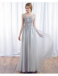 A-Line Scoop Neck Floor Length Tulle Prom Formal Evening Dress with Appliques