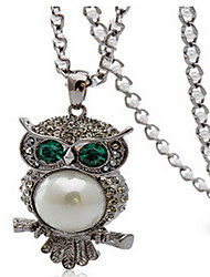 Exquisite Crystal Silver Owl Pendant Necklace Jewelry for Lady