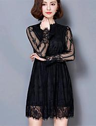De las mujeres Vaina Vestido Noche Chic de Calle,Un Color Escote Chino Sobre la rodilla Manga Larga Blanco / Negro Algodón / Licra