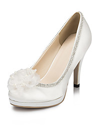 Women's Spring Summer Fall Winter Satin Wedding Party & Evening Dress Stiletto Heel Imitation Pearl Flower Ivory White