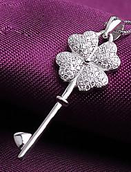colar de pingente de diamante trevo s925 prata 1 das mulheres