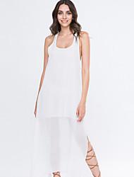 Women's Beach Swing Dress,Solid Deep U Maxi Sleeveless White Summer