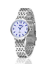 Mulheres Relógio de Moda Relógio Casual Quartzo Relógio Casual Aço Inoxidável Banda Branco Branco Preto