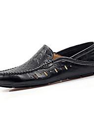 Men's Loafers & Slip-Ons Spring Fall Moccasin Cowhide Casual Flat Heel Black Brown Dark Green Walking