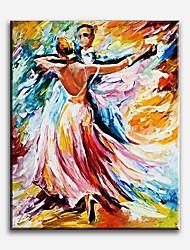 Pintados à mão Pessoas Modern / Clássico / Tradicional / Realismo / Mediterrêneo / Pastoril / Estilo Europeu,1 Painel TelaHang-painted