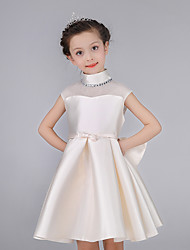 A-line Knee-length Flower Girl Dress - Cotton / Satin Sleeveless High Neck with