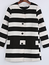 Women's Coat,Color Block Round Neck Long Sleeve Fall Black Wool / Others Thick