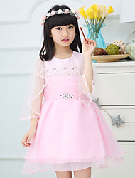 A-line Knee-length Flower Girl Dress - Cotton / Organza / Satin 3/4 Length Sleeve Jewel with Beading