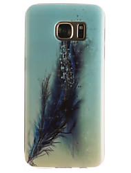Pour Samsung Galaxy S7 Edge Motif Coque Coque Arrière Coque Plume Flexible PUT pour SamsungS7 edge S7 S6 edge S6 S5 Mini S5 S4 Mini S4 S3