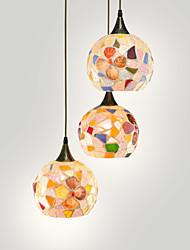 BOXIMIYA Simple Mediterranean Restaurant Chandelier, 3 Head Shell Lampshade Round Hanging Plate, A single Diameter 15 Cm
