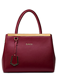 Women-Outdoor / Shopping-Cowhide-Tote-Red / Black