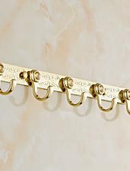 Gold Finish Brass Wall Mounted Robe Hooks