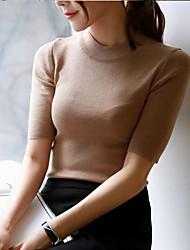 Damen Pullover-Lässig/Alltäglich Retro Solide Rosa Rot Weiß Schwarz Grau Orange ¾-Arm Baumwolle Dünn