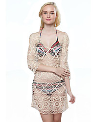 Women's Solid Boho Beach Hollow Out Lace Hook Breathe Freely Blouse,Round Neck ¾ Sleeve
