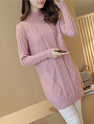 Women's Going out / Casual/Daily Cute Long Pullover, Turtleneck Long Sleeve Linen Fall / Winter Medium
