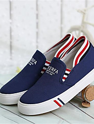 Damen-Flache Schuhe-Lässig-PU-Flacher Absatz-Komfort / Geschlossene Zehe-Schwarz / Blau / Weiß / Grau