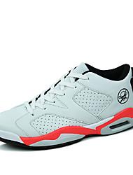 sapatos masculinos pu sapatilhas da forma atlética basquetebol atlético salto plana outros preto / branco / preto e branco