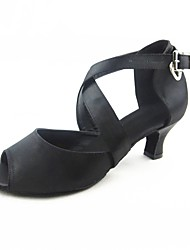 Customizable Satin Women's Dance Shoes Latin / Jazz / Ballroom Customized Heel Practice / Professional Black