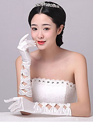 Elbow Length Fingertips Glove Spandex Bridal Gloves / Party/ Evening Gloves Spring / Summer / BeigeBeading