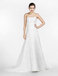 A-Fu A-line Wedding Dress Simply Sublime Court Train Strapless Lace Satin Tulle with Lace