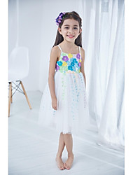 Ball Gown Tea-length Flower Girl Dress-Polyester Sleeveless