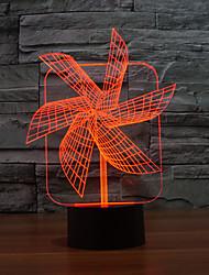 big pinwheel 3 d Lampe originalité touche bureau de bureau d'économie d'énergie lampe illusion conduit couleur changeante lumière de nuit