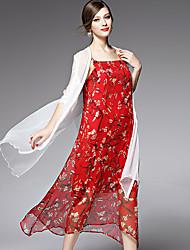 AFOLD® Femme Epaules Dénudées Manches 1/2 Midi Robes-5525