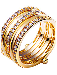 Ring,Gold Plated Round Fashion Wedding / Party / Daily / Casual / N/A Jewelry Cubic Zirconia / Copper / Platinum Plated / Gold Plated