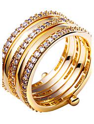 Ringe,vergoldet Runde Form Modisch Hochzeit / Party / Alltag / Normal / N/A Schmuck Kubikzirkonia / Kupfer / Platiert / vergoldet Damen