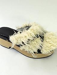 Punk Lolita Fauxfur / Leather 6 Wedge Black Lolita Shoes