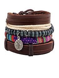 Femme Bracelets Bracelets en cuir Mode Bohême Cuir Forme de Cercle Marron Bijoux Pour Quotidien Décontracté 1pc