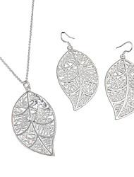 Women's Fashion Leaves Shape Earrings Necklace Jewelry Sets