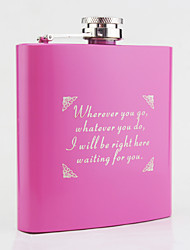 Personalized Stainless Steel Hip Flasks 6-oz Pink Flask Gift