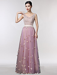 Prom Formal Evening Dress - Sparkle & Shine A-line V-neck Floor-length Lace Tulle with Embroidery