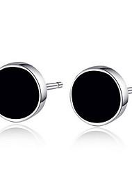 Unisex Silver Simple Black Circular Button Type Stud Earrings