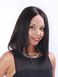 """en stock 8 """"-30"""" frente virgen bob cordón del pelo humano brasileño recto pelucas de color negro natural para las mujeres negras"""