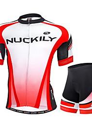 NUCKILY® Camisa com Shorts para Ciclismo Homens Manga Curta MotoRespirável / Resistente Raios Ultravioleta / Tiras Refletoras / Bolso