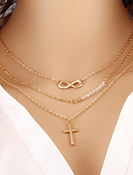 Alloy Gold Layered Chain Necklace with 8 Infinite Cross Pendant